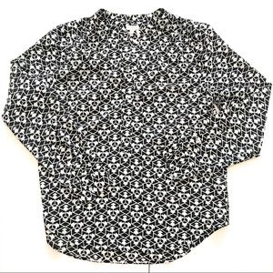 J. CREW | Black & White Geometric Print Top